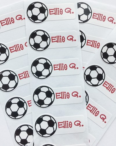 Soccer Ball mini die cut name labels - set of 26